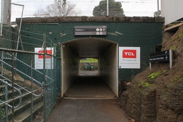 Pedestrian underpass at the up end of Flemington Racecourse