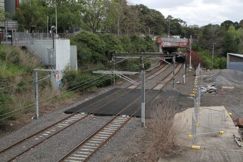 Hi-rail access pad on the Clifton Hill Group tracks at Richmond Junction