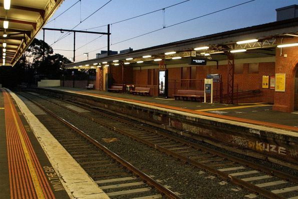 New timber sleepers over the pedestrian subway at Glenferrie station