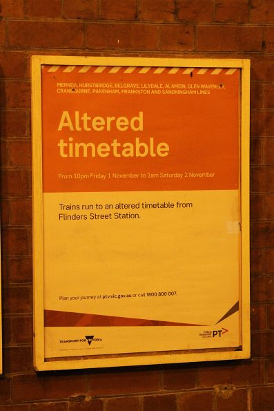 Useless 'Altered timetable' poster from Metro Trains