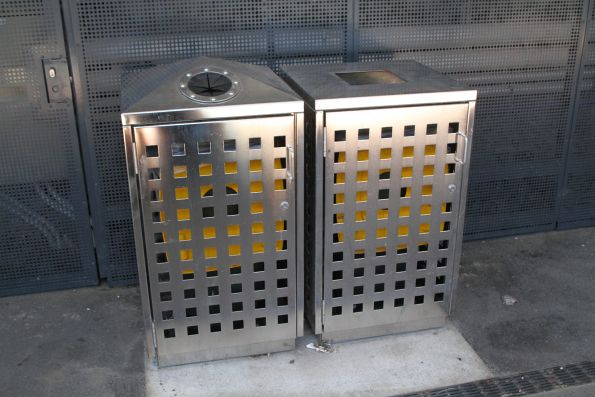 Yellow lid bins for both recycling and rubbish