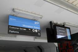 Signage and PIDS at the entrance to Moorabbin station