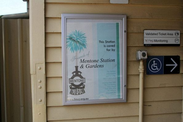 'This station is cared for by Friends of Mentone Station and Gardens' poster