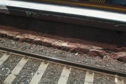 Bluestone foundation to the brick facing at South Yarra platform 2