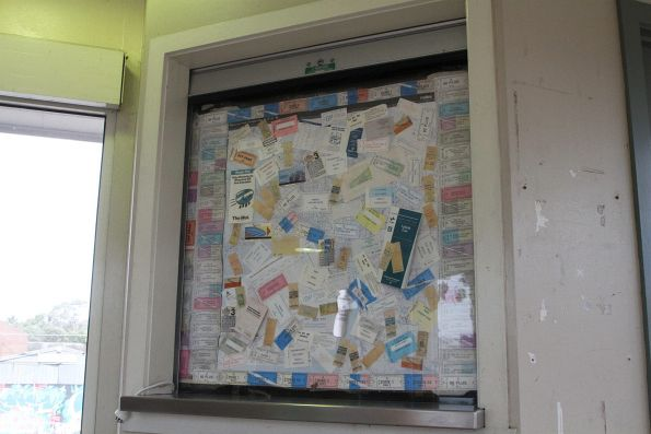 Collection of old tickets on display at Gowrie station