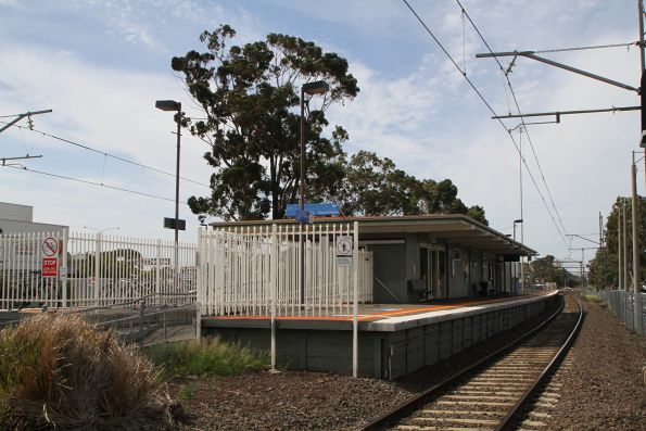 Station building on the island platform at Gowrie