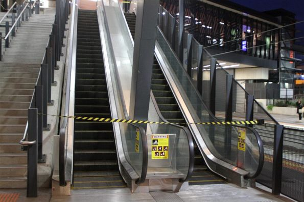 Escalators between platform and concourse closed for the night at Footscray station