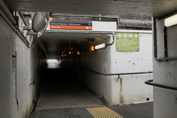 Pedestrian underpass beneath Burwood Highway at Upwey station