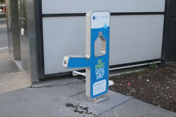 'Be Smart. Choose Tap' water fountain at Sunshine station