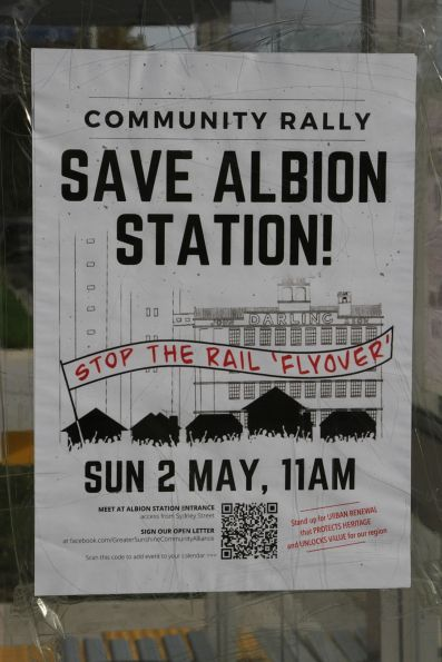 Poster for the 'Save Albion Station' community rally on Sunday 2 May