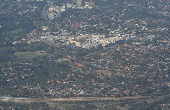 Greensborough station and shopping centre from the air