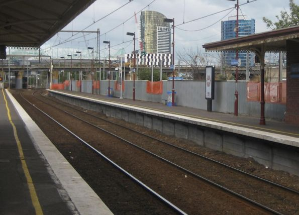 Removed advertising billboards at North Melbourne station platform 6