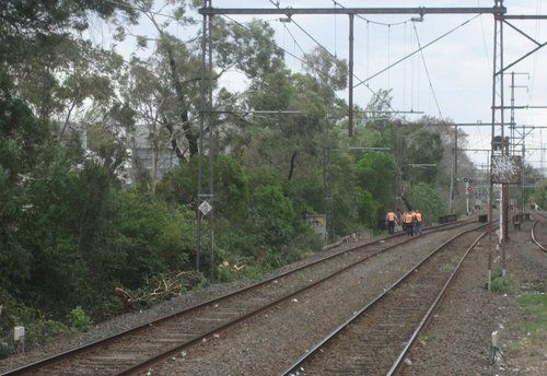 Mainco workers checking the tracks at Glenferrie during the recent storms