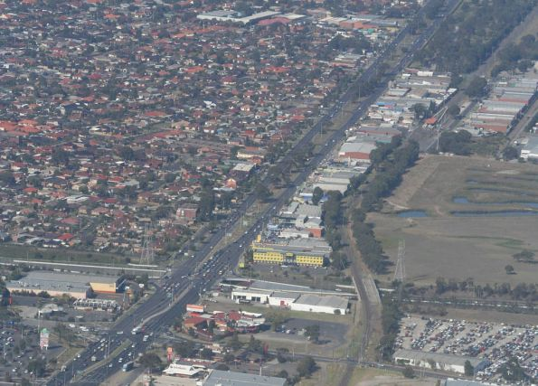 Fawkner and the Upfield line from the air, Gowie station in background