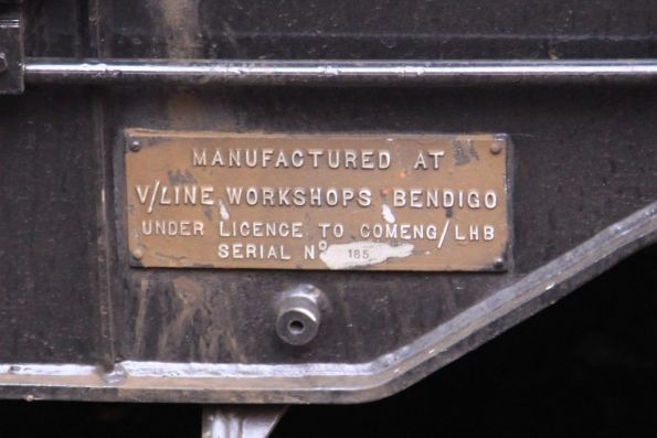 'V/Line Workshops Bendigo' builders plate on a disc braked Comeng bogie