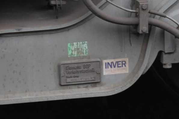 'Siemens SGP Verkehrstechnik' builders plate beside a 'Inver Engineering' sticker
