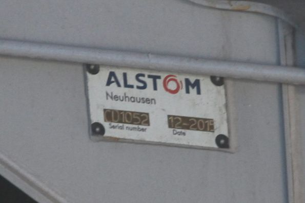 'Alstom Neuhausen' builders plate on the bogie of Comeng 1135T
