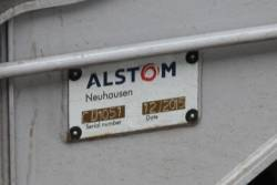 'Alstom Neuhausen' builders plate on the bogie of Comeng 570M