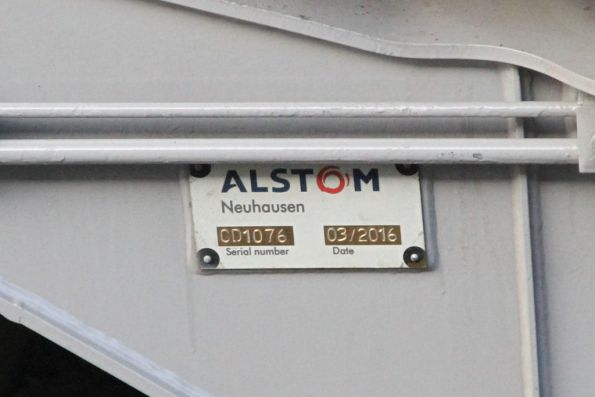 'Alstom Neuhausen' builders plate on the bogie of Comeng 609M
