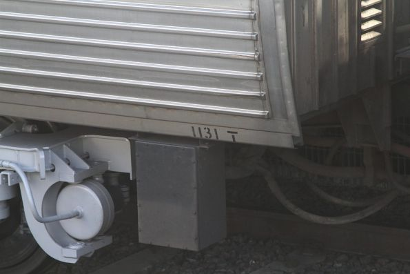 Carriage number stencilled on the side of Comeng trailer 1131T