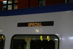 'Special' displayed on the destination board of a X'Trapolis train on a Burnley service