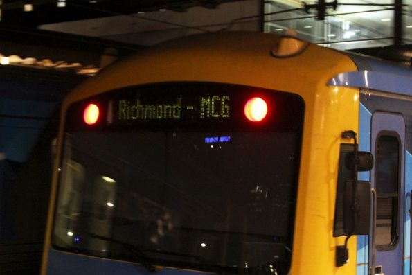 'Richmond - MCG' destination displayed on a Siemens train