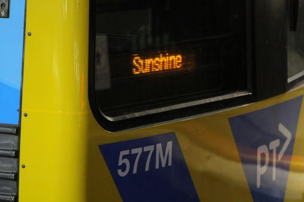 'Sunshine' on the headboard of a life extension Alstom Comeng 577M