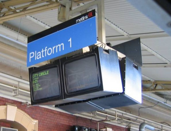 PIDS at Flinders Street Station displaying a City Circle train, headed anticlockwise around the City Loop