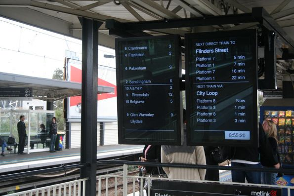 New LCD next train displays above the centre subway at Richmond