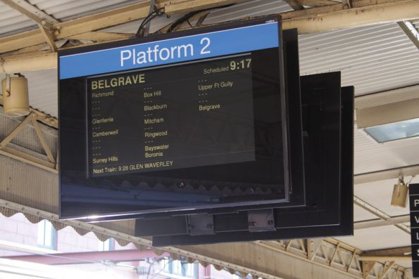 PIDS at Flinders Street displaying the stopping pattern of the 0917 down Belgrave 'Puffing Billy Express'