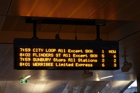 Six platforms at Footscray station, yet passengers are only told the next four trains!