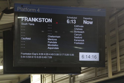 Notice of Frankston line express services at the bottom of the next train display at Richmond station