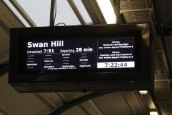 Swan Hill service displayed on the PIDS at Footscray - with 5 stops omitted from the display