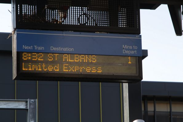 'St Albans' limited express train on the PIDS at Sunshine