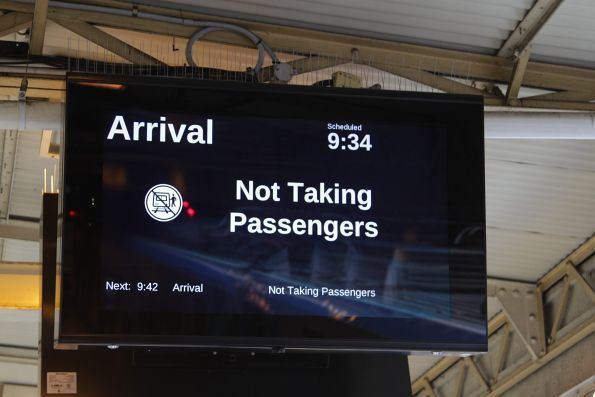 'Arrival / Not Taking Passengers' displayed on the PIDS at Flinders Street Station