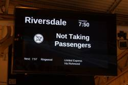 Empty cars move advertised as a '7.50 service to Riversdale' on the PIDS at Flinders Street Station