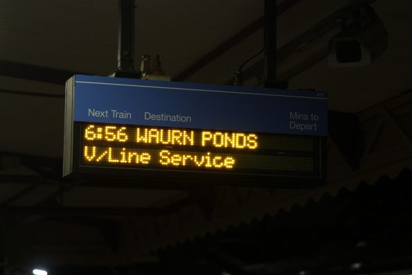 6:56 Waurn Ponds service displayed on the PIDS at Footscray