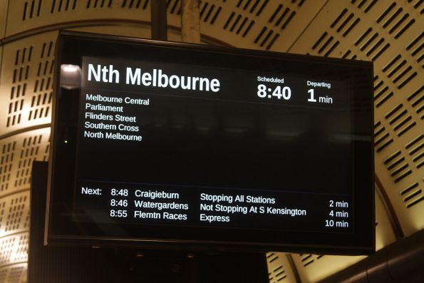North Melbourne train displayed on the PIDS in the Northern Loop