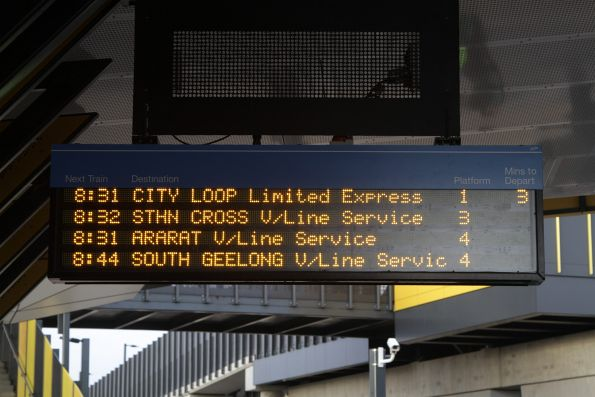 Three out of four of the next trains at Sunshine are V/Line services