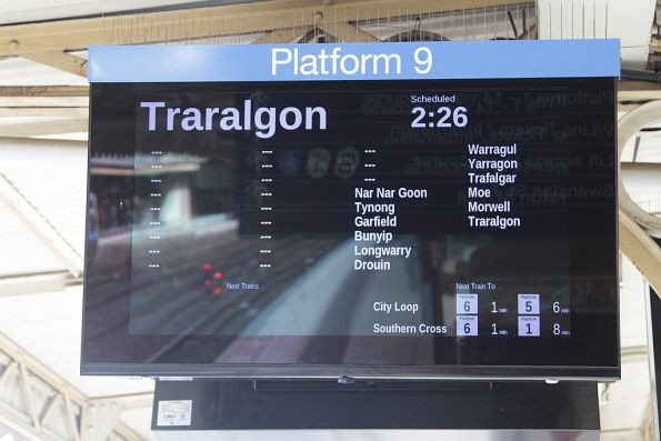 PIDS at Flinders Street Station list every suburban stop at V/Line services to Traralgon don't stop at