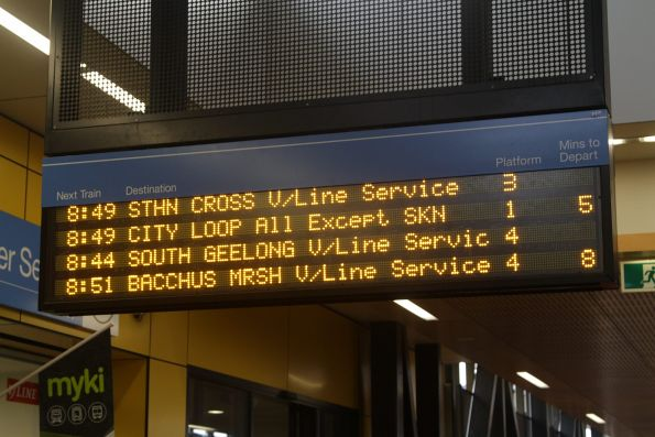 Three of the next four departures from Sunshine station are V/Line services