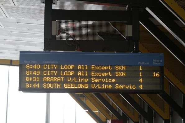 Next two outbound trains at Sunshine are V/Line services