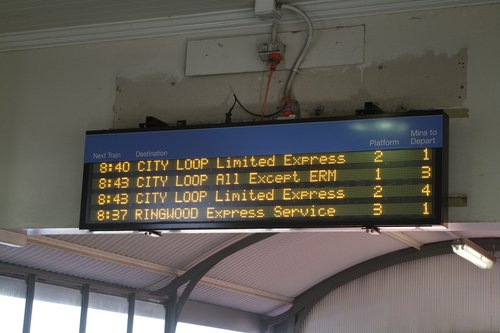 PIDS at Camberwell - three lines on the screen dedicated to citybound trains, and one line for outbound service