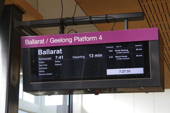 'Ballarat / Geelong Platform 4' sign at Sunshine station - the previous mention of 'Bendigo' has been removed