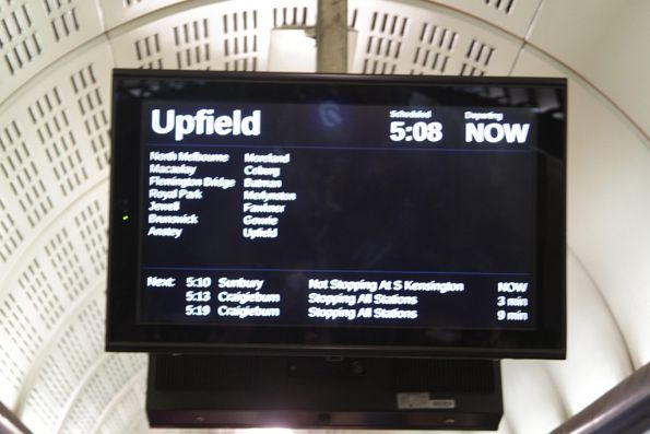 Next train display is a little confused - is the Upfield or Sunbury service coming 'now'?