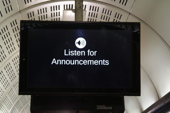 'Listen for announcements' message at Flagstaff station