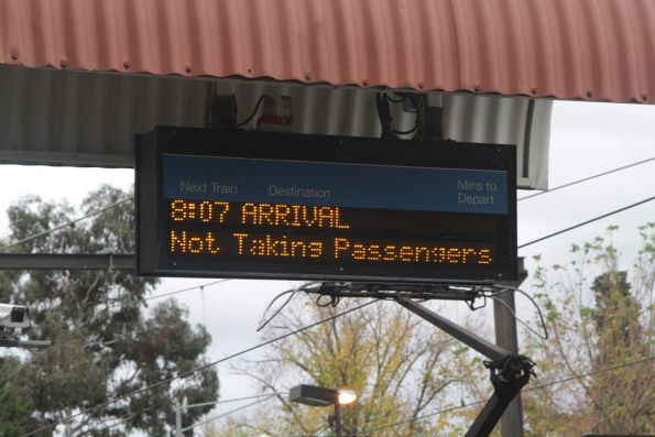 PIDS at Riversdale platform 2 indicating a terminating train