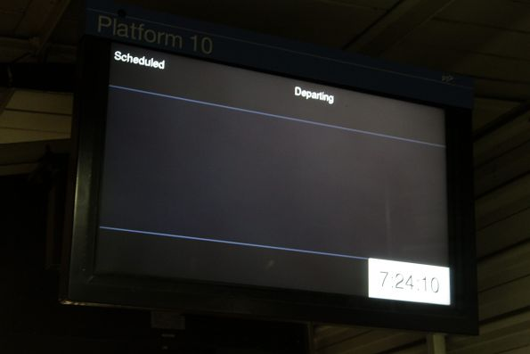 Blank next train display at Richmond station platform 10