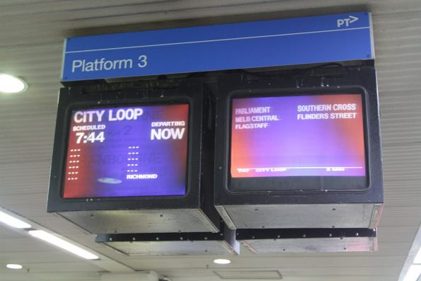 A departing train triggers colour distortion on the CRT monitors at Box Hill station