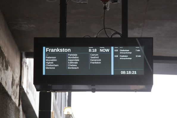 New style LCD PIDS at the rebuilt McKinnon station